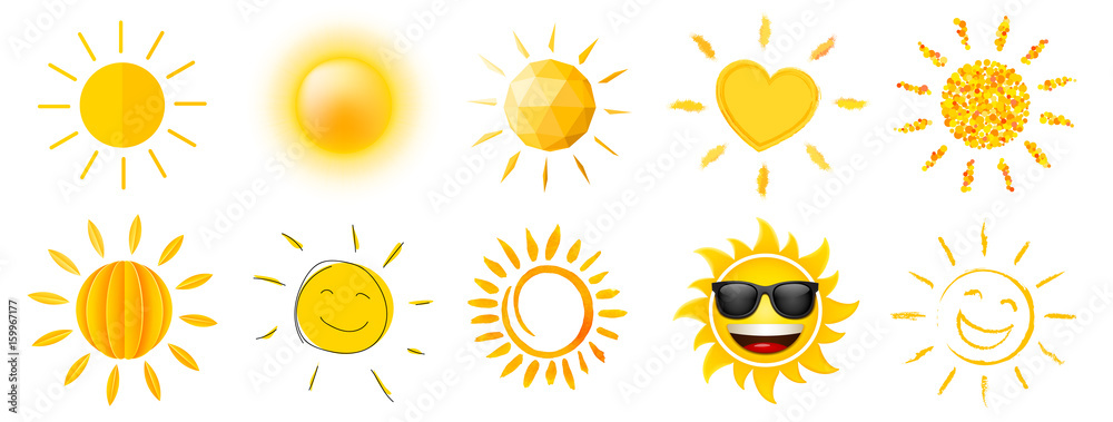 Fototapety, obrazy: sun combilation in different styles