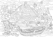 Coloring Book Page Of Rural Landscape, Farm House, Ducks, Kitten, Swans, Horses, Frog, Storks, Flock Of Seagulls. Freehand Drawing For Adult Antistress Colouring With Doodle And Zentangle Elements.