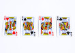 Poker cards on white backgrounds.Four kings