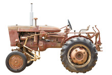 The Old Tractor On White Background,farmer,farm