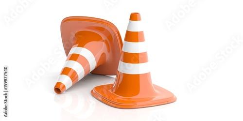 Fotografía  Traffic cones on white background. 3d illustration