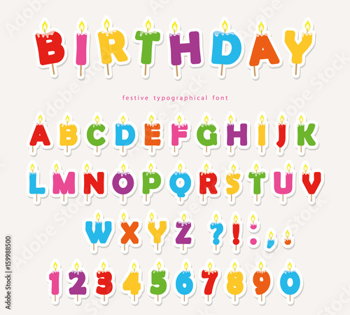 Birthday Candles Colorful Font Design Cutout ABC Letters And Numbers