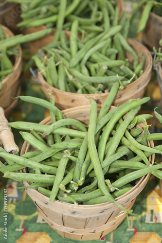 Baskets of Green Beans at Farmers Market - Buy this stock