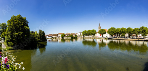 Photo skyline of Audincourt at the river Doubs in France