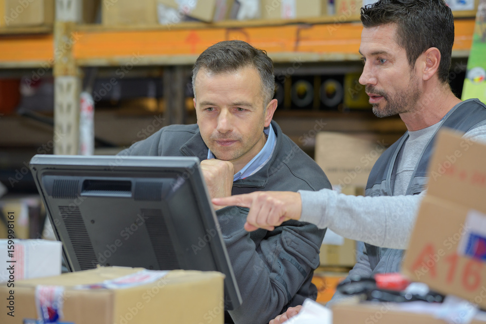 Fototapeta warehouse worker and manager using computer in a warehouse