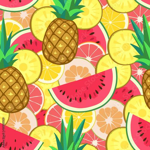 fototapeta na ścianę Seamless pattern with summer fruits.