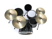 Top View Black Drums 3d Render...