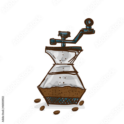 Photo  coffee grinder drawing object