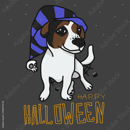 Deurstickers Babykamer Happy Halloween Jack Russell dog cartoon vector illustration