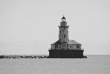 Navy Pier Lighthouse Black And...