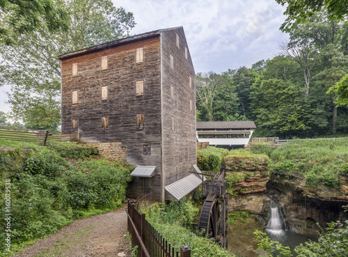 Photo  Rock Mill, Covered Bridge, and Hocking River Falls - Fairfield County, Ohio