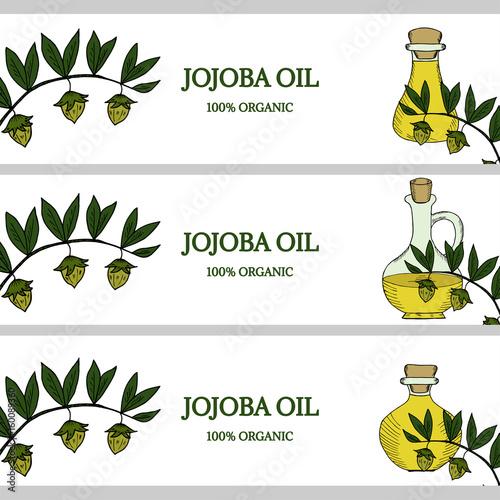 Fotografie, Obraz  3 horizontal banners, jojoba oil in color