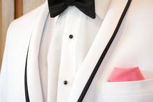 White Tuxedo With Black Bow Ti...