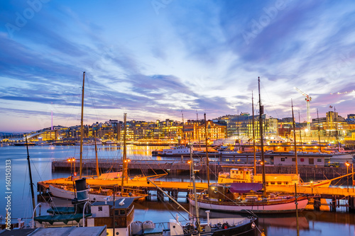 Port of Oslo city in Norway at night