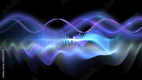 Fotobehang Fractal waves Abstract background of science and technology