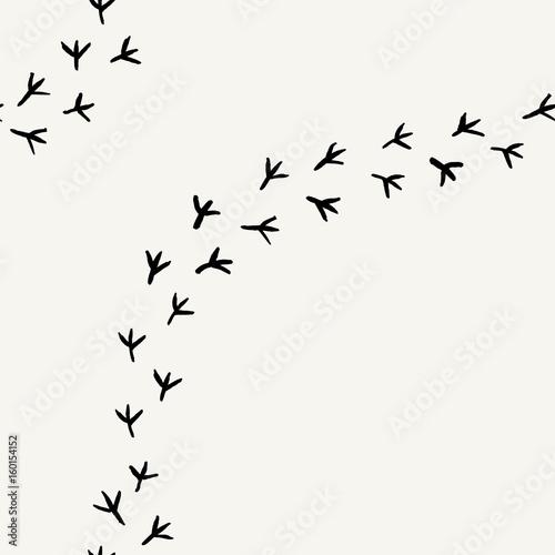 plakat Seamless background with bird's tracks. Hand drawn texture.