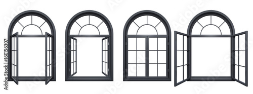 Photo  Collection of black arched windows isolated on white