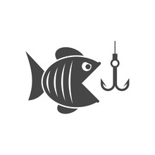 Fish And Fish Hook - Illustration