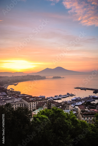 Garden Poster Napels Sunrise over Naples, Italy