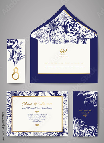 set of template wedding invitation and envelope with hand drawn