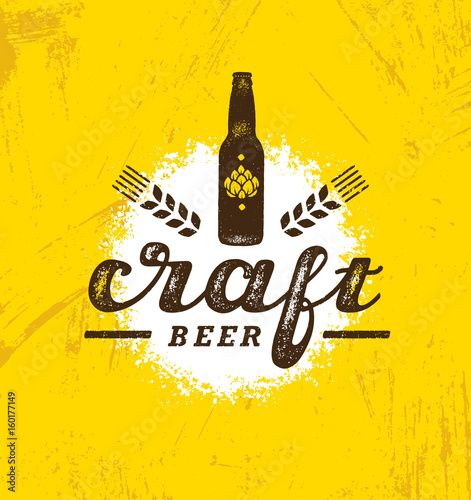 Craft Beer Brewery Artisan Creative Vector Stamp Sign Concept Rough