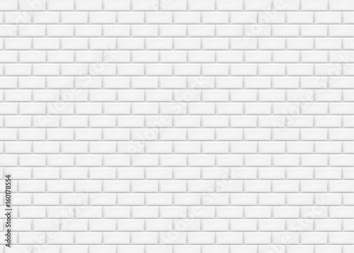 Obraz White brick wall in subway tile pattern. Vector illustration. - fototapety do salonu