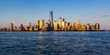 New York City Financial District skyscrapers and Hudson River at sunset (Panoramic). Lower Manhattan