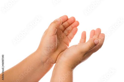 Zdjęcie XXL Dwoje dzieci ręka na białym tle