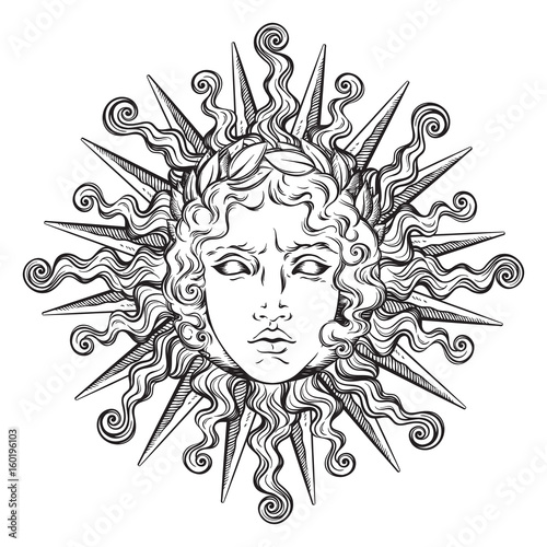 Fotomural Hand drawn antique style sun with face of the greek and roman god Apollo