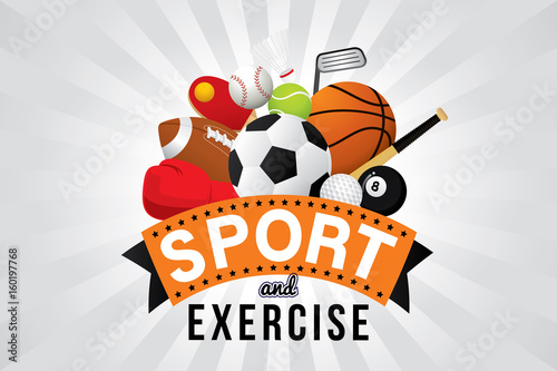 Fotografija  Vector sport and exercise club with sports ball and equipment.