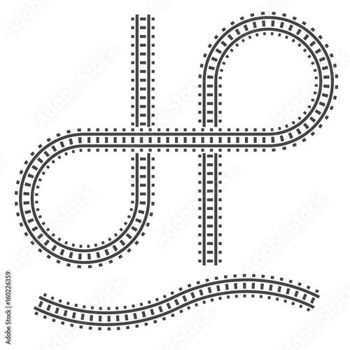 Railway tracks construction elements  Vector sign symbol