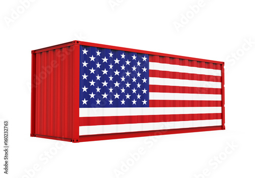 Fototapeta Container with United States Flag Isolated obraz na płótnie