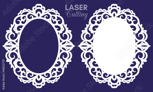 Laser cut vector abstract oval frames with swirls, vector ornament ...