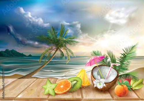 Koktajl i tropikalne owoc na dennym tle