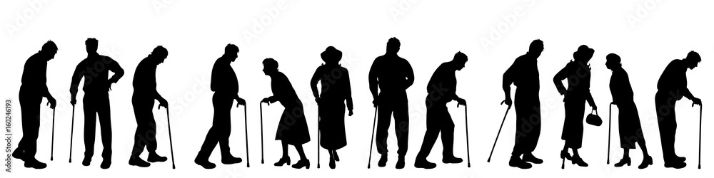 Fototapeta Vector silhouette of old people on white background.