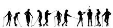 Vector Silhouette Of People Who Play Golf On White Background.