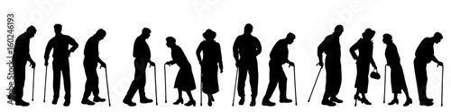 Obraz Vector silhouette of old people on white background. - fototapety do salonu