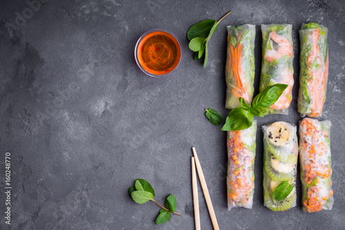 Fresh assorted spring rolls