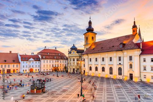 Fototapeta Sibiu, Romania. City Hall and Brukenthal palace in Transylvania. obraz