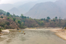 Mountain Landscape And Rafting...