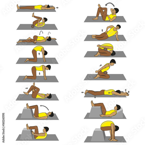 Vector image set of exercises to deal with back pain, spine