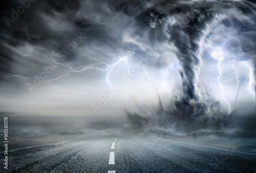 Fotografie, Obraz  Powerful Tornado On Road In Stormy Landscape