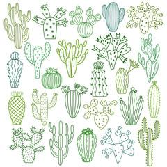 Vektorske ilustracije kaktusa. Set ručno nacrtanih biljaka kaktusa