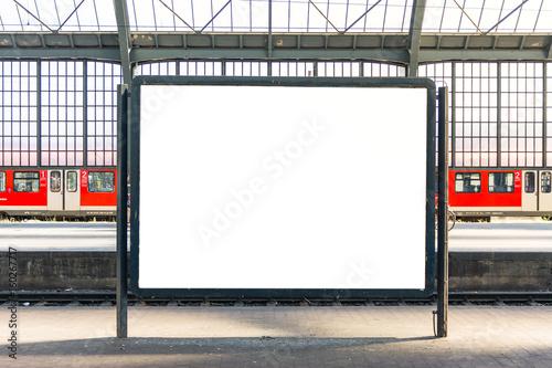 Obraz Train Station Billboard Poster Blank White Isolated Template Urban City Environment - fototapety do salonu