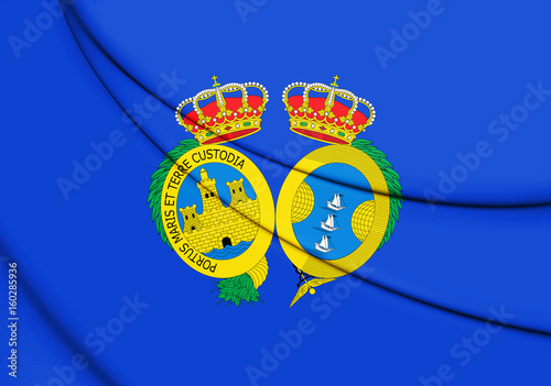 3D Flag of Huelva Province, Spain.