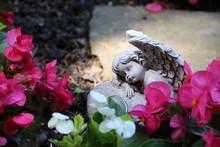 Friedhofsengel Zwischen  Blumen