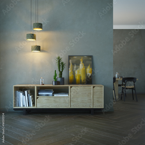 living room interior with wooden sideboard Tablou Canvas