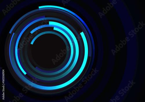 Zdjęcie XXL okrąg spirali linii technologii abstrakcyjne tło, cyfrowy okrągły szablon nakładania, ilustracji wektorowych