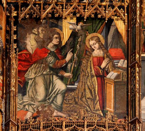 Photo annunciazione; pannello di retablo; chiesa romanica di Santa Maria del Regno ad