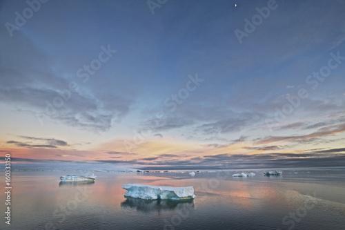 Icebergs at sunrise, Antarctica Wallpaper Mural